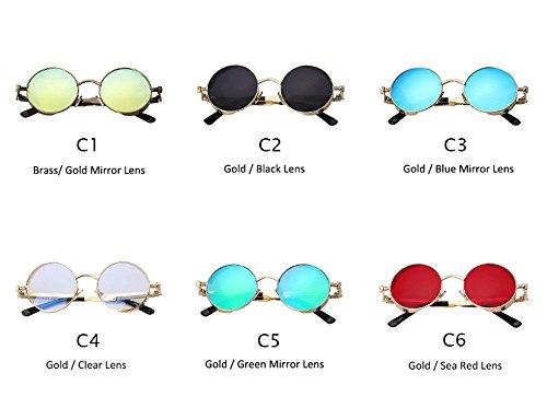 Lunettes Blue hommes femmes lunettes Mirror et Miroir pour les Vintage lunettes Steampunk 2018 rondes Retro les Lunettes Silver waq5PCC