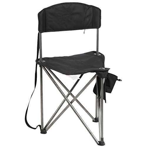 PORTAL Extra Large Quick Folding Tripod Stool with Backrest Fishing Camping Chair with Carry Strap (Black)