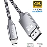 4K@60Hz USB C to DisplayPort Cable(2K@165Hz,1080p@144Hz),Highwings High Speed Thunderbolt 3 Port to Displayport Cable Compatible MacBook Pro/Air 2020,ipad pro 2018,Galaxy S20/S10/S9, More