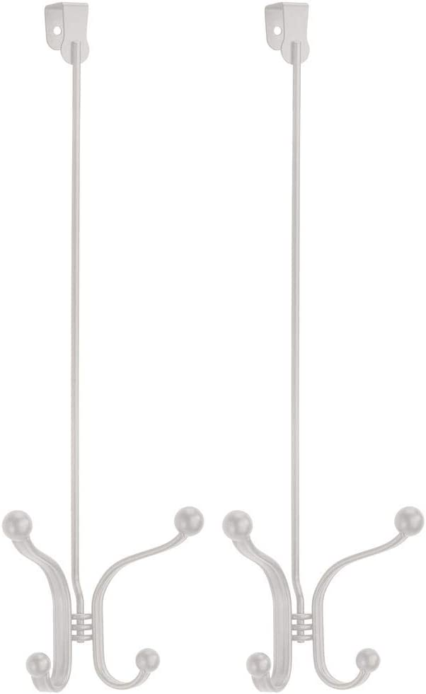 Bronze Purses Hang Coats 4 Hooks Towels Hoodies mDesign Metal Modern Over The Door Storage Organizer Rack Scarves Hats Clothing 17 Tall Robes 2 Pack Leashes
