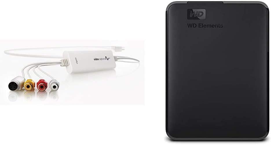 Elgato Video Capture - Digitize Video for Mac, PC or iPad (USB 2.0) & WD 2TB WD Elements Portable External Hard Drive, USB 3.0 - WDBU6Y0020BBK-WESN