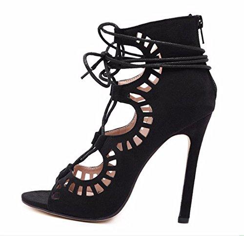 Cordon Las Partido De Del QIYUN Del Tacones Roma De Atractivo Sandalias Z La Hasta Ahueca Fuera De Cremallera Noche Hacia Mujeres Negro Aguja Zapatos pIqw5PH