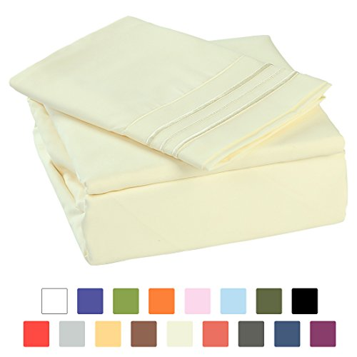 BLC Bed Sheet Set, Hypoallergenic Microfiber 3-piece sheets with 14-Inch Deep Pocket (Twin XL, Ivory) ()