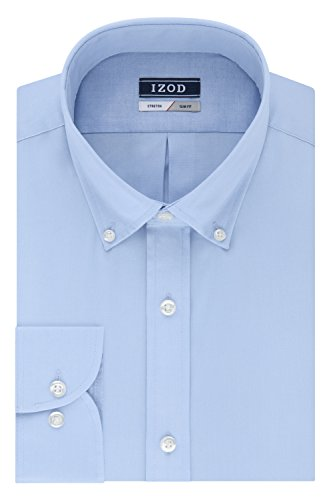 IZOD Men's Slim Fit Solid Button Down Collar Dress Shirt, Water Mill, 15.5