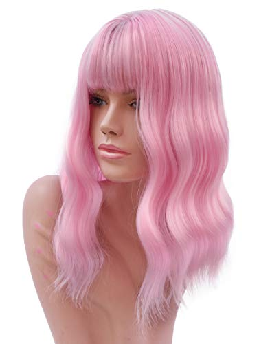 Light Pink Short Wigs with Air Bangs for Women Natural Looking Short Bob Wavy Curly Wig Women's Pink Wig 14 Inch]()