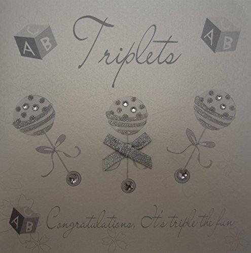 White Cotton Cards Triplets Silver Rattles Triplets Congratulations It