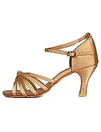 Roymall Women's Satin Latin Dance Shoes Ballroom Salsa Tango Performance Shoes,Model 217
