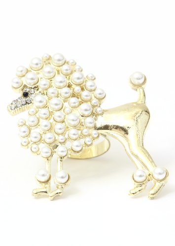 Poodle Ring Adjustable Faux Pearl Gold Tone RA41 Puppy Dog Animal Cocktail Statement Fashion Jewelry
