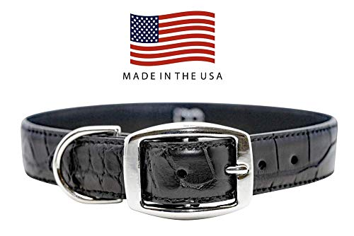 - Real Leather Creations Dog Collar - Black Genuine Alligator Skin - Natural Cowhide Leather Backing - American Factory Direct - Made in USA Medium FBA1086