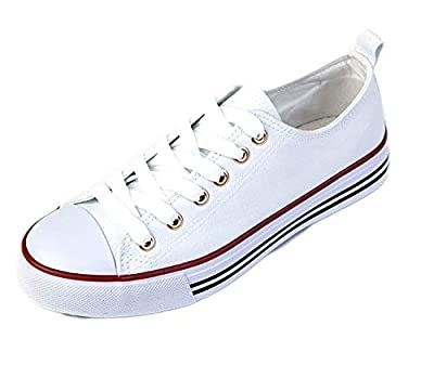 Shop Pretty Girl Women's Casual Canvas Shoes Solid Colors Low Top Lace up Flat Fashion Sneakers (10, White)