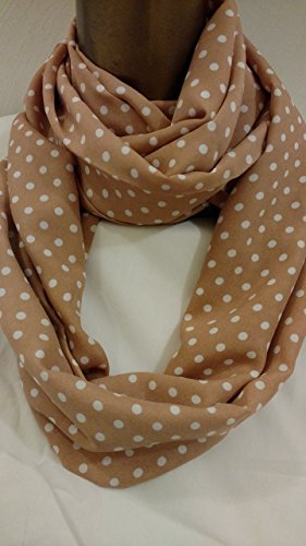 Peanut Butter and Pearl Polka Dot Infinity Scarf