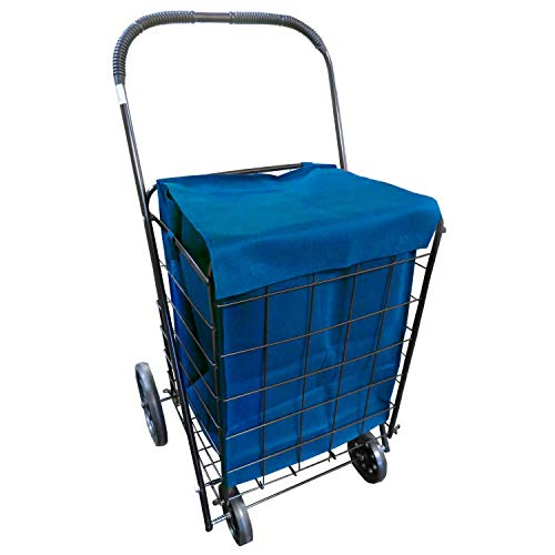(Extra Large Heavy Duty Folding All Purpose Utility Shopping Grocery Luggage Storage Cart Jumbo Size with Swivel Wheels-Capacity up to 150 lb, Black(Black Cart with Blue Liner))