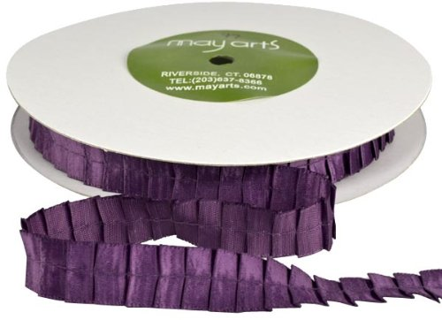 May Arts 5/8-Inch Wide Ribbon, Plum Satin Pleats by May Arts