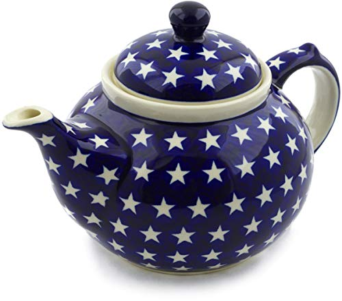 Beautiful Pottery - Polish Pottery 50 oz Tea or Coffee Pot (America The Beautiful Theme) + Certificate of Authenticity