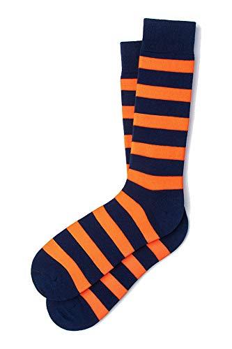Men's Designer Collegiate College Rugby Striped Stripe Crew Dress Socks (Orange & Navy Blue)
