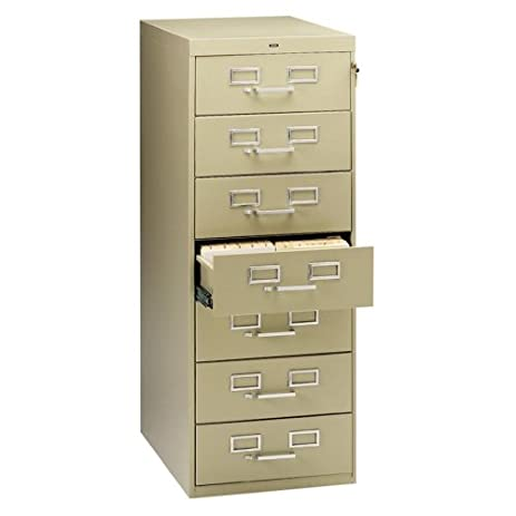 Tennsco Card Files/Media Storage Cabinets 7 Drawer Card Cabinet, W/