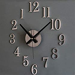 Shmei Modern Frameless DIY Wall Clock,3D Wall Watch Non Ticking DIY Metallic Wall Clock for for Home Decor (B)