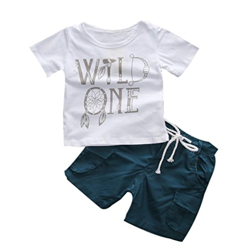 PHOTNO 1Set Suit outfit for Kids Toddler Boys Summer Letter Print T-shirt T-shirt+Shorts (2-7Y) (2T, White)