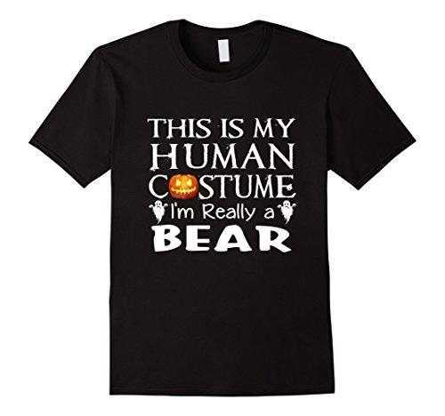 Mens My Human Costume BEAR shirt Gift Halloween Funny XL Black