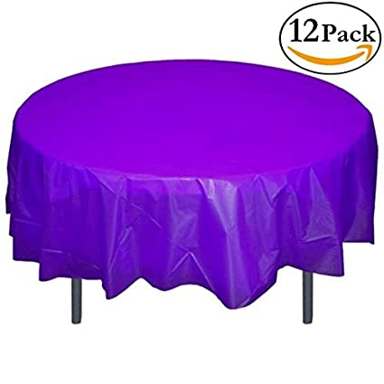 Merveilleux Exquisite 12 Pack Premium Plastic 84 Inch Round Tablecloth   Purple
