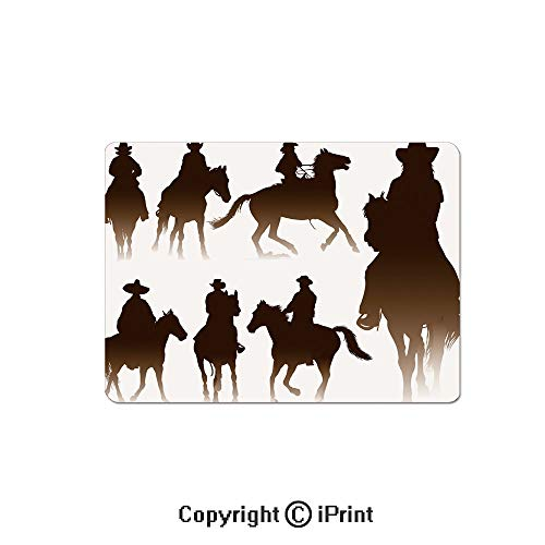 Thick 3mm Gaming Mouse Pad Collection of Horseback Riding Silhouettes Bridle Ranch Stallion Equestrian Theme Decorative Personality Design Non Slip Rubber Mouse Mat,7.1x8.7 inch,Dark Brown