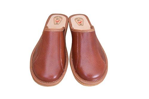 Natleat Slippers womens slippers 59 - Zapatillas de estar por casa de Piel para mujer coñac