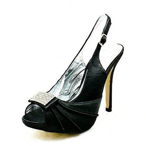 Abierto Fiesta Del Con Las Negro Zapatos Señoras Frente Alto De Diamante Talón Satén Tqt80wHA