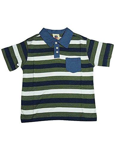 Dogwood Clothing - Little Boys Striped Short Sleeve Polo, Olive, Blue, White 11590-4