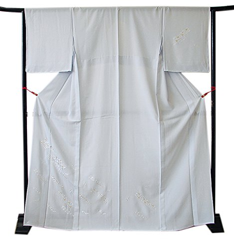 技術分子治す博多着物市場 きものしらゆり 新品 L ロング 夏物 絽 藍白地 総刺繍 高級 附下げ 訪問着 正絹 仕立て上がり 当店仕立て