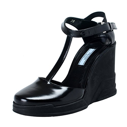 (Prada Black Leather Ankle Wedges T-Strap Sandals Shoes US 7.5 IT 37.5; )
