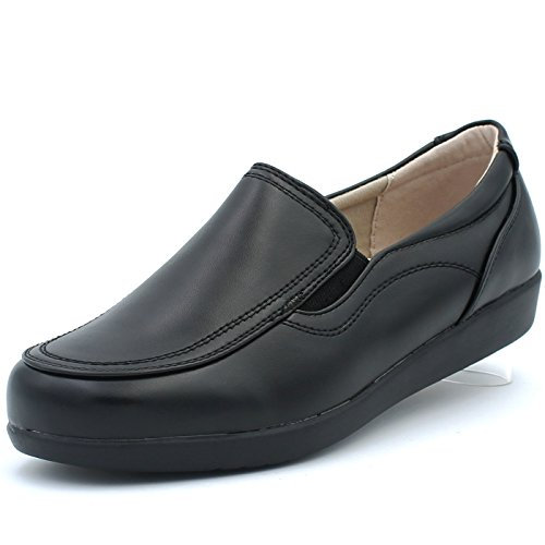 Black Loafers Walking Band Slip Women's Ball Resistant On Work Flats Support Slip Casual Shoes Arch Comfortable nFwaq4Wcq