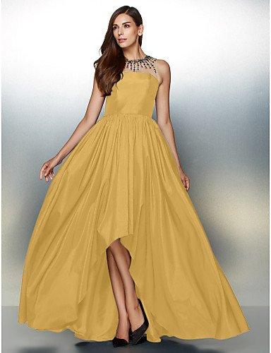 Tafetán Noche amp;OB Cuello Asimétrica Detallando De Una Crystal Vestido Joya Con HY Formal Prom De De Gold Línea fz7wxdq