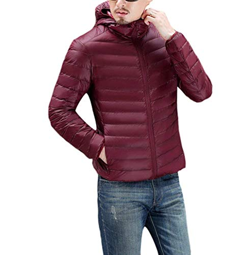 Boy Clásico Down Ultra Winered Warm Collar Jacket Stand Down Hooded Quilted Slim Men's Coat Jackets Hood Lightweight Winter Laisla fashion Jacket wq7HAHg