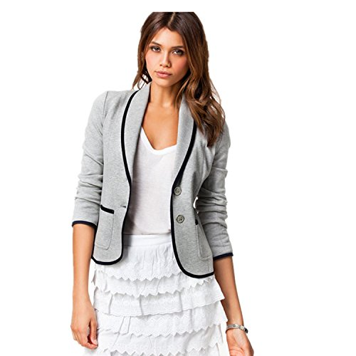 Lucao Women's Fashion Slim Temperament Casual Suit Jacket Coat Grey-L