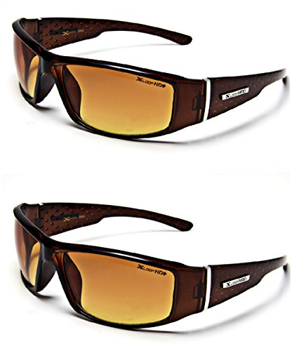 HD Vision Anti-Glare Driving Glasses X-Loop 2 PACK Brown w/ Free Micro Fiber - Hd Sunglasses Vision