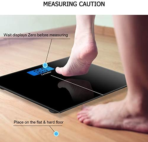 Letsfit Digital Body Weight Scale, Bathroom Scale with Large Backlit Display, Step-On Technology, Ultra Slim Design, Black