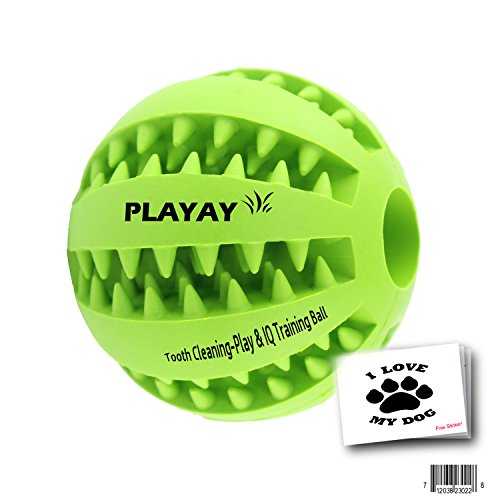 41Xbu6slTCL - IQ Treat Ball [Chew Toy] FOR DOGS & CATS [Dental Treat][Bite Resistant] Durable Non Toxic- BPA FREE-Strong Tooth Cleaning for Pet Training/Playing/Chewing, [Enhace your Pets Playing Experience Now!]