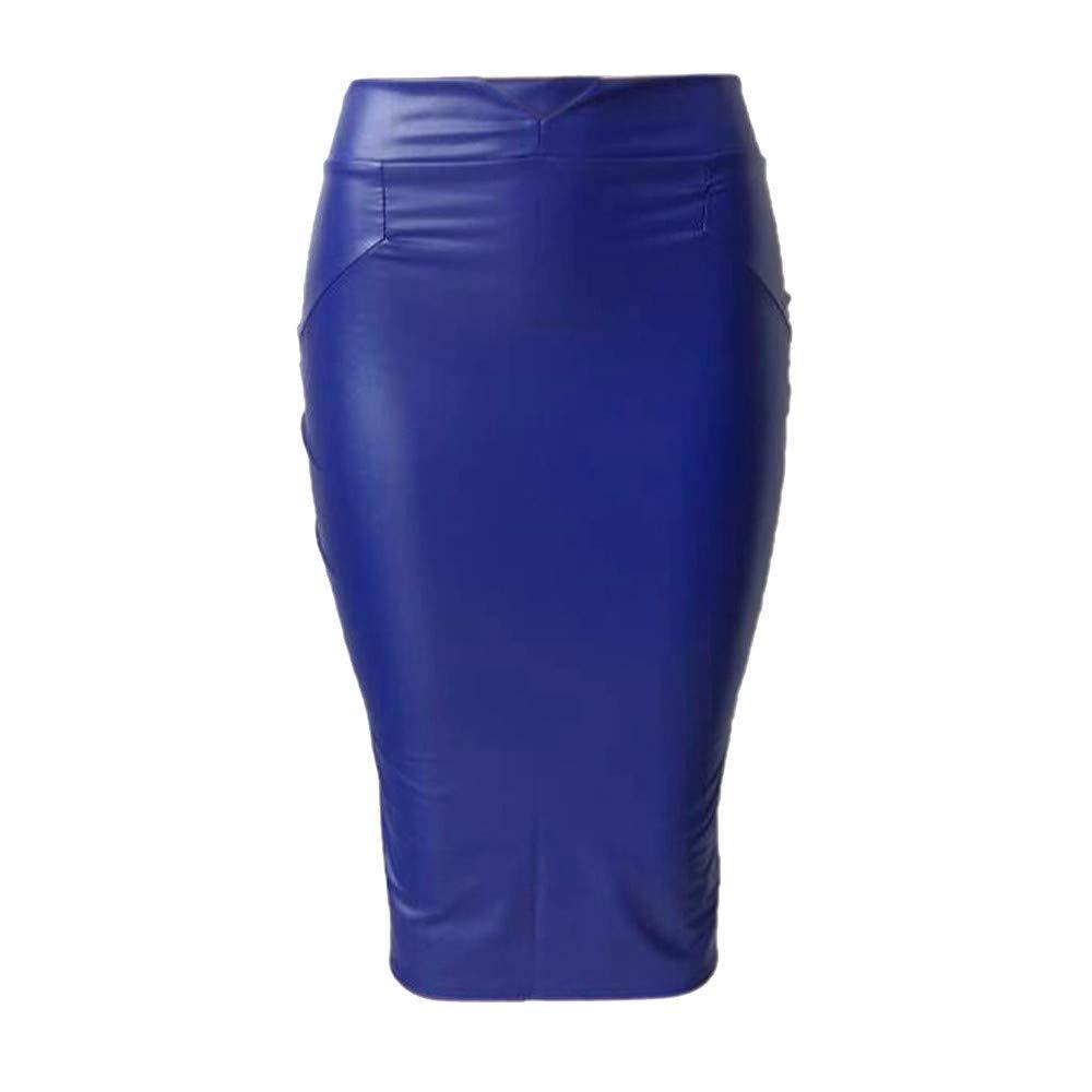 Handaxian Falda Ajustada de Mujer Casual lápiz de Cuero Falda de ...