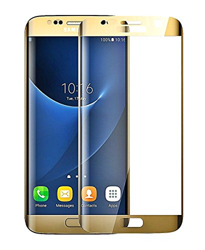 Josi Minea [ Samsung Galaxy S7 Edge ] 3D Curved Tempered Glass Screen Protector with Full Coverage Crystal Clear Ballistic LCD Screen Cover Guard HD Premium Shield for Samsung Galaxy S7 Edge - Gold - Edge Lcd
