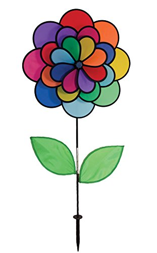 In the Breeze Triple Wheel Flower with Leaves - Ground Stake Included - Colorful Wind Spinner for your Yard or Garden (Spinner Wind Garden Triple)