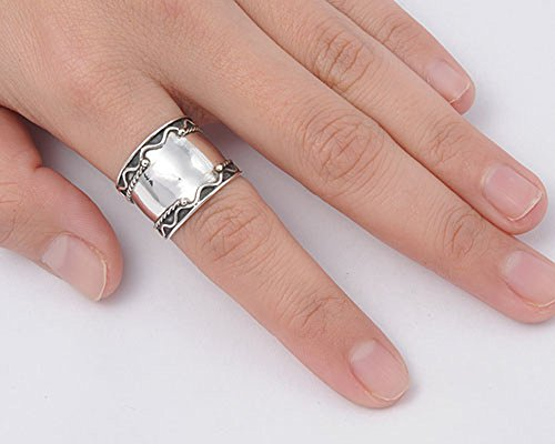 Sterling Silver Women's Bali Ring Wide Band Rope Bead Swirl Fashion Sizes 6-12