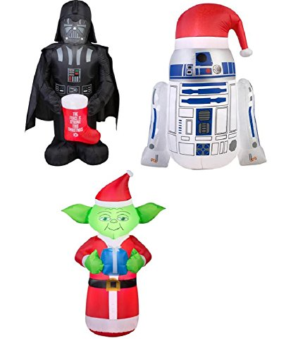 star wars airblown inflatable christmas decorations lawn yard ornaments r2 d2 yoda darth vader 3pcs - Star Wars Inflatable Christmas Decorations