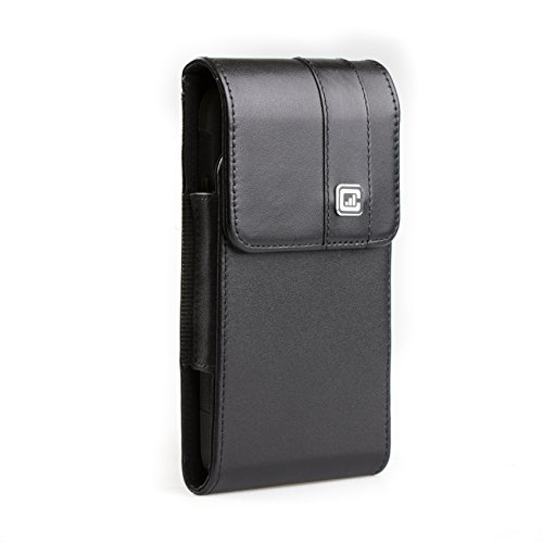 [Gorilla Clip] CASE123 MPS MK II TL Genuine Leather Vertical Oversized Swivel Belt Clip Holster for Apple iPhone X for use Otterbox Commuter, Symmetry Series and Rugged cases - Black Cowhide