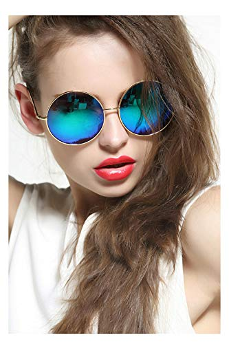 GEELOOK Oversized Round Circle Mirrored Hippie Hipster Sunglasses - Metal Frame -