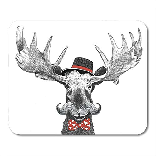 - Semtomn Gaming Mouse Pad Valentines Day Cartoon Hipster Moose Large Handlebar Mustache Cool Hat 9.5