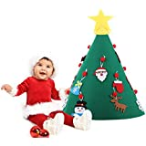urwonderbox 3D Felt Christmas Tree DIY Set with 18 Detachable Ornaments and Hanging Rope Wall Decor Home Door Decoration Hanging Xmas Gifts for Christmas Decorations for Kids