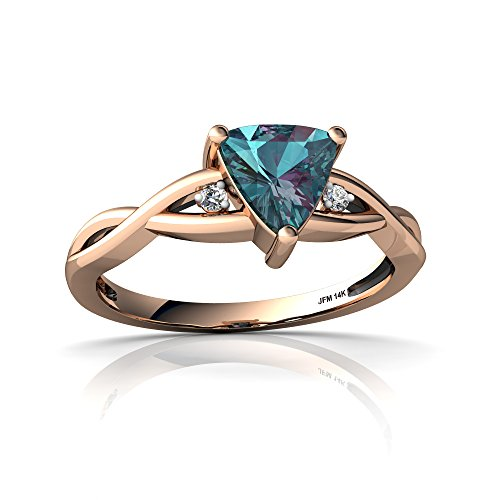 Lab Created Alexandrite Ring - 14kt Rose Gold Lab Alexandrite and Diamond 6mm Trillion Twist Ring - Size 7