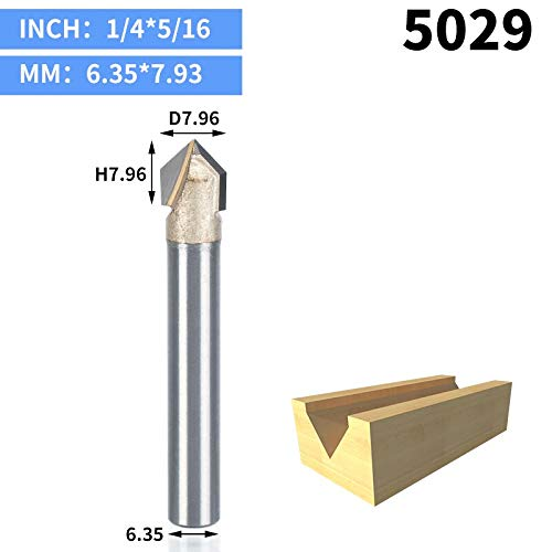 (1 piece 1pcs 1/2 1/4 Shank V Type slotting cutter Professional Router Bits for wood 90 Deg Tungsten Woodworking Carving Tool)