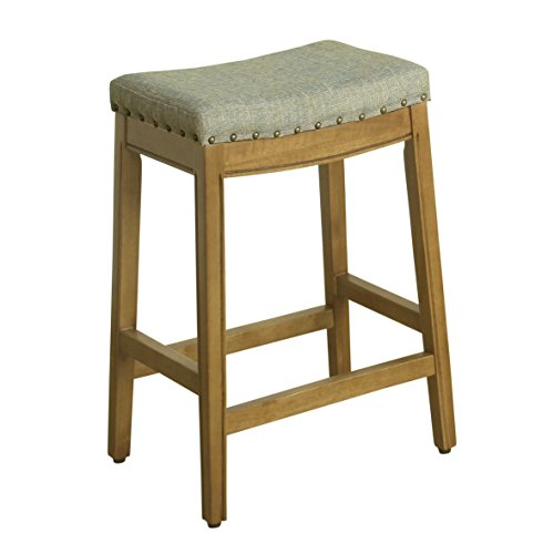 HomePop Blake Backless Counter Barstools, 24-inch, Green Tweed