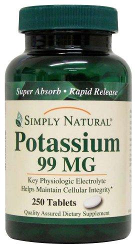 Simply Natural Potassium 99 MG, 250 tablets (Best Natural Potassium Supplements)